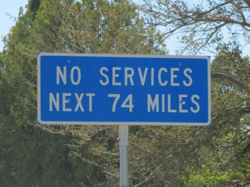 No services 74 mi