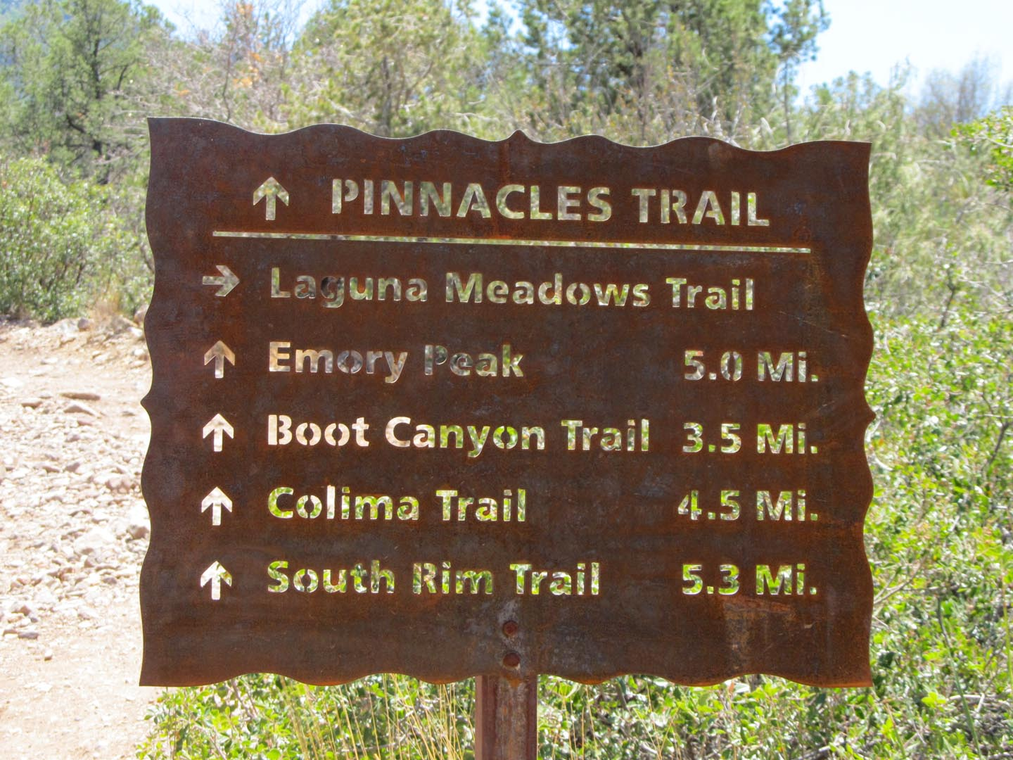 Pinnacles Trail Sign